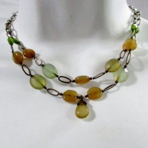 Jewelry - Double 2 Strand STONE CHOKER Bead Necklace